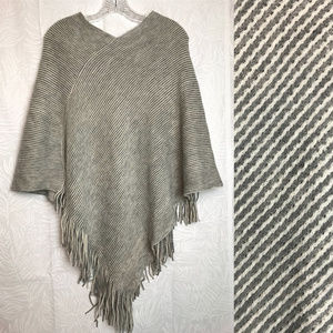 JUST BE striped fringe sweater poncho
